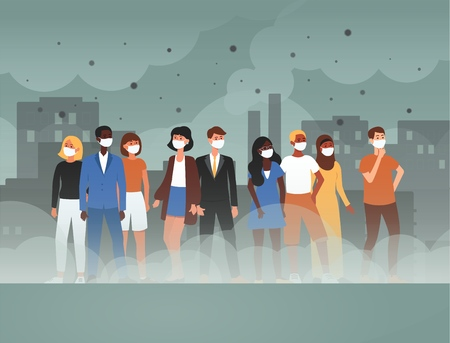 Illustration pour Environment toxic gas pollution and industry smog danger concept flat cartoon vector illustration. People in protective face masks from contaminated dirty city air. - image libre de droit