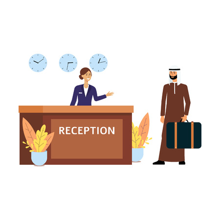 Illustration pour Cartoon receptionist welcoming a guest at hotel check in desk, Muslim business man at reception getting a room, woman in uniform and Arab man isolated flat vector illustration on white background - image libre de droit