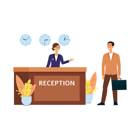 Illustration pour Cartoon business man checking in at hotel room at reception, smiling receptionist woman at front service desk with three clocks welcomes guest, isolated flat vector illustration on white background - image libre de droit