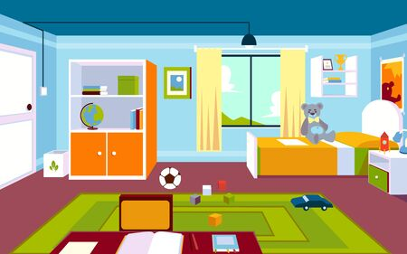 Illustration pour Interior of the kids room in the home with a carpet and a window, furniture and a bed, toys and a table in a cartoon style. - image libre de droit