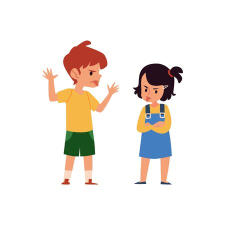 Cartoon boy and girl taunt and mock each other, angry children sticking tongue and showing mischief behavior, siblings fight and argument isolated on white background - flat vector illustration