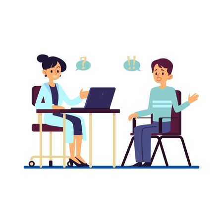 Patient and doctor at medical consultation in hospital. Cartoon character asking question from female medicine worker behind desk with laptop - flat isolated vector illustration