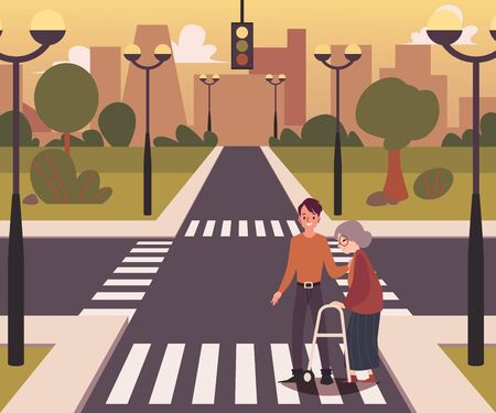 Ilustración de Cartoon city crossroad landscape with a character of a man helping elderly lady to cross the road, flat vector illustration background. Road with intersection way. - Imagen libre de derechos
