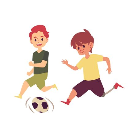 Ilustración de Disabled child playing soccer game with friend, happy cartoon boy with prosthetic leg kicking a football to score goal. Kid with disability running with a ball - isolated flat vector illustration - Imagen libre de derechos