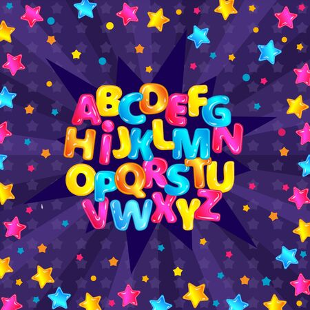 Ilustración de Colorful fun English alphabet set with glossy cartoon letters and starry purple background, star explosion letter design with cute type characters - vector illustration - Imagen libre de derechos