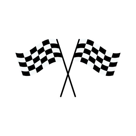 Illustration for Two black and white checkered flags crossed into X shape - race car rally competition symbol isolated on white background, flat cartoon style drawing of finish line sign, vector illustration - Royalty Free Image