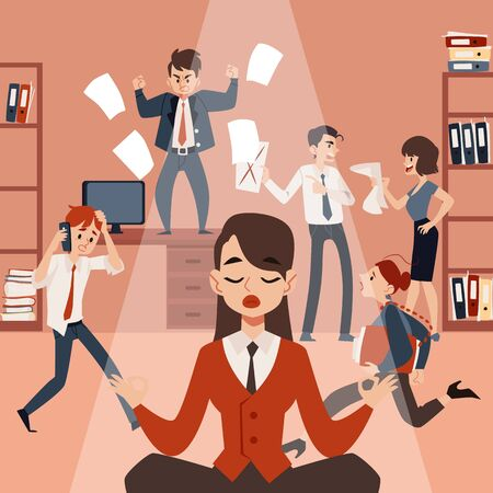 A young woman or girl meditates in lotus position and relaxes, keeps calm and balance in the midst of office chaos and noisy, stressful employees. Vector flat illustration.