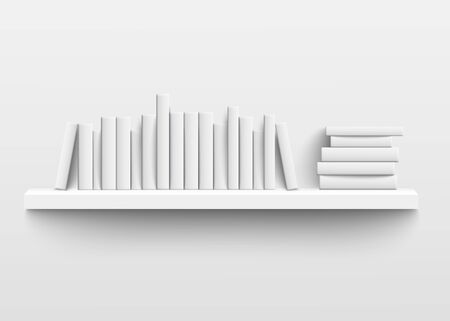 Ilustración de White book shelf mockup on the wall, 3d realistic design of minimalist bookshelf with blank hard cover books on a row and stacked with empty spine templates, isolated vector illustration - Imagen libre de derechos