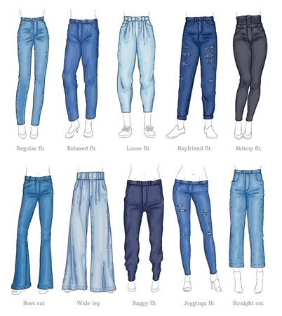 Illustration pour Set of female jeans models and their names sketch style, vector illustration isolated on white background. Collection of denim trousers or pants types, casual fashion clothing for women - image libre de droit