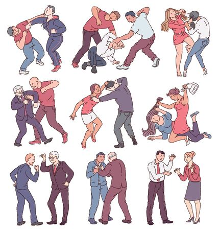 Illustration pour Collection of people during fight action, set of angry men and women in physical conflict, punching, hitting, threatening each other. Violence themed isolated vector illustration on white background. - image libre de droit