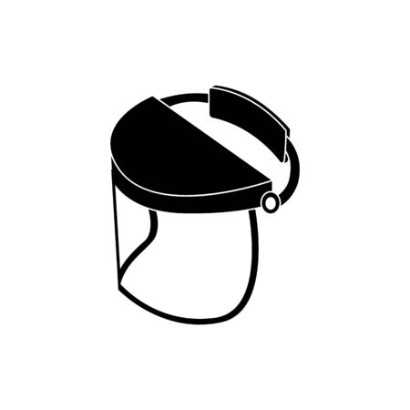 Illustration pour Safety visor for face protection, glass helmet shield mask for welding and construction work, plastic head wear for danger areas, isolated black vector icon illustration on white background - image libre de droit