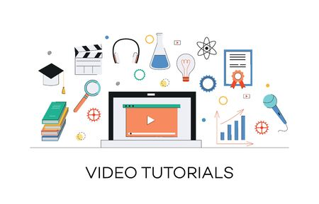 Illustration pour Video and internet marketing tutorials concept. Media learning, web education through internet video marketing and tutorials. Laptop with play icon and other media elements, vector flat illustration. - image libre de droit