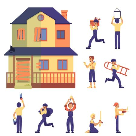 Illustration pour Set of home renovation with house before and after, workers and labor in flat cartoon style, isolated vector illustration on white background. Old two-storey flat home renovated into cute cottage. - image libre de droit