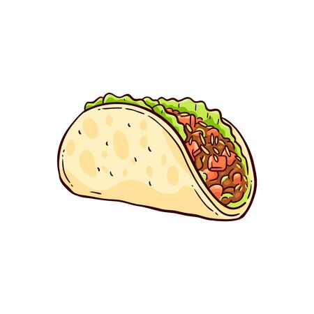 Illustration pour Hand drawn tacos, traditional Mexican food in a tortilla with cheese, meat and vegetables. Vector illustration on white background in sketch style. - image libre de droit
