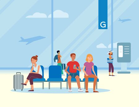 Ilustración de Waiting room at the airport with traveling passengers and tourists with luggage waiting for departure, vector illustration. - Imagen libre de derechos