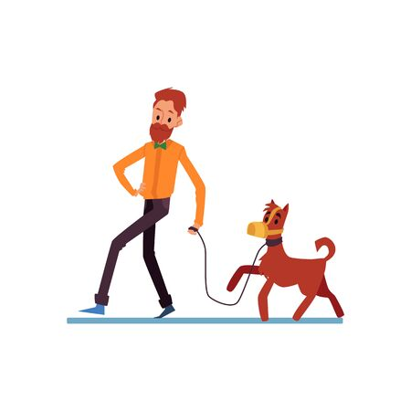Illustration pour Hipster bearded man and his dog walking flat cartoon vector illustration isolated on white background. Pet and his owner enjoying spending time together outdoor. - image libre de droit