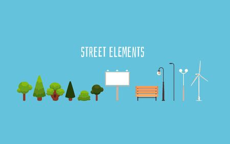Street elements - isolated city park decoration objects design in flat cartoon style. Single trees, ad banner, wooden bench, lamp posts and windmill - vector illustration