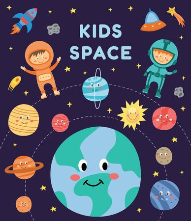 Illustration pour Kids in space - cute cartoon astronaut children in suits flying among smiling planets and rocket on night sky, happy boy and girl in astronomy card - flat hand drawn vector illustration - image libre de droit
