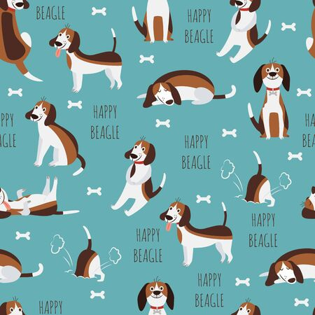 Cute childish seamless pattern with beagle dog or puppy flat vector illustration on blue background. Funny pets in endless texture for fabric and wallpaper prints.