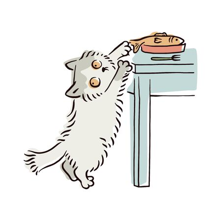 Illustration pour Banner with naughty playful cat stealing food and throwing off fish, sketch vector illustration isolated on white background. Bad behavior of domestic animal or pet. - image libre de droit