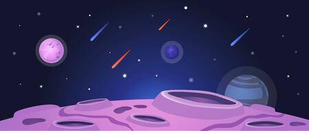 Ilustración de Cartoon space banner with purple planet surface with craters on night galaxy sky background with falling meteor rain - colorful vector illustration - Imagen libre de derechos