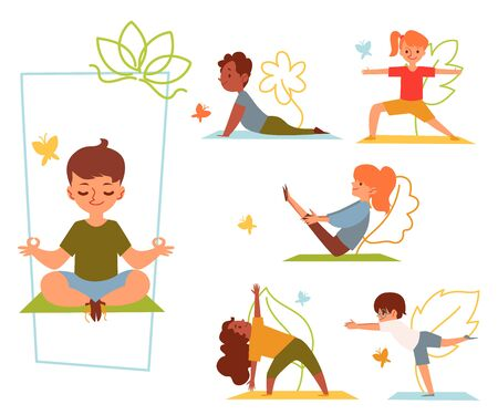 Illustration pour A set of kids and children doing yoga in various poses and stretching or fitness exercises on mat. Kids girls and boys do yoga asanas for health. Isolated flat cartoon vector illustration. - image libre de droit
