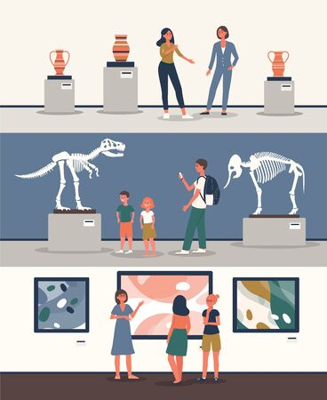 Illustration pour Set of banners with tourists watching dinosaur skeleton and other exhibits at historical or art museum excursion the flat vector illustration isolated on white background. - image libre de droit