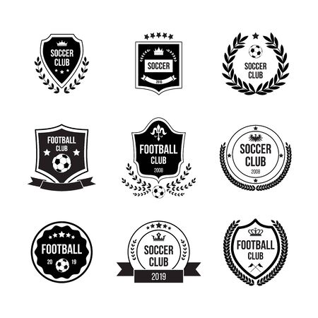 Ilustración de Set of football and soccer badges with shields and balls for competitions, clubs and teams. Black badges, signs and icons in circles and shields for football. Isolated flat vector illustration. - Imagen libre de derechos