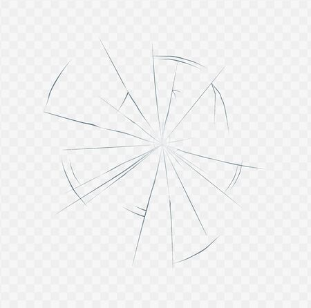 Illustration pour Realistic cracked glass texture isolated on white transparent background. Broken surface crack effect in spider web shape, daylight vector illustration. - image libre de droit
