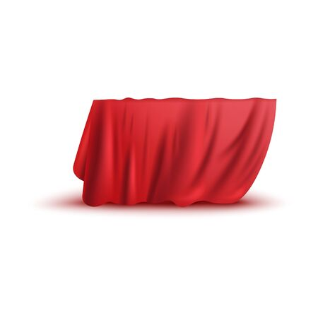 Illustration pour Covering drape, red curtain or cloth 3d photo realistic vector illustration isolated on white background. Fabric hiding some object, secret gift before presentation. - image libre de droit
