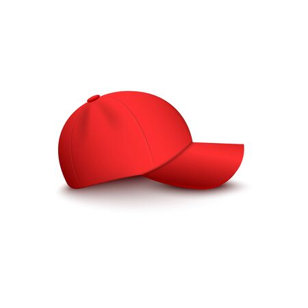 Illustration for Baseball or vendor, company uniform red blank cap side view 3d realistic vector mockup illustration isolated on white background. Hat for sport or brand clothing design. - Royalty Free Image