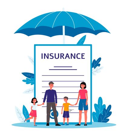 Illustration pour Family insurance - cartoon people standing near giant contract document with text under big umbrella. - image libre de droit