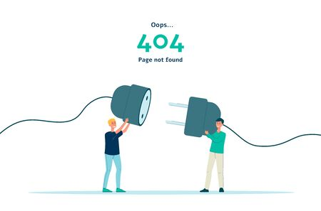 404 error - page not found isolated banner. Flat cartoon people holding unplugged socket plug trying to connect it.