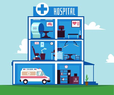 Illustration pour Hospital or healthcare clinic rooms interiors with medical equipment - image libre de droit