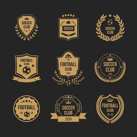 Foto per Football club badge set - royal shield shape with crown symbol and soccer ball decorated with ribbons, wreath and stars. Isolated flat vector illustration. - Immagine Royalty Free