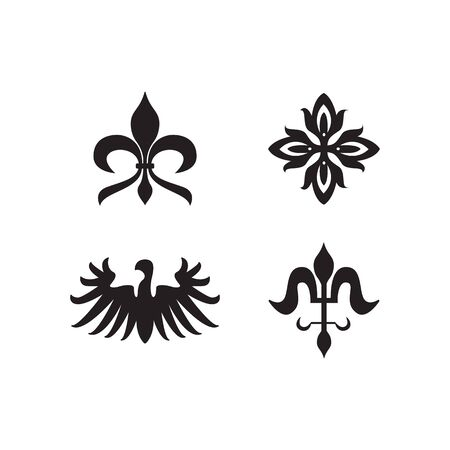 Illustration for Heraldry royal symbols and decorative elements black icons set vector illustration isolated on white background. Vintage animal and flowers emblems silhouettes. - Royalty Free Image