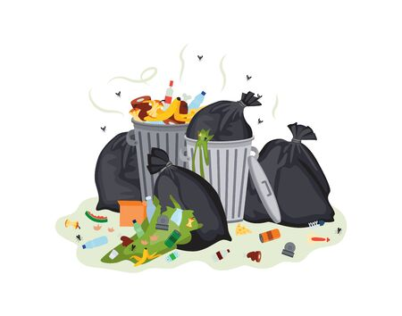 Illustration for Garbage plastic bags and waste cans full with rotting stinking garbage flat cartoon vector illustration isolated on white background. Dirty scrapyard open containers. - Royalty Free Image