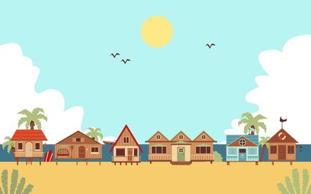 Illustration pour Tropical beach with resort guest houses or bungalows and palms, flat cartoon illustration. Summer seaside vacation background or ocean coast landscape. - image libre de droit