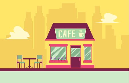 Illustration pour Small cafe building facade with outdoor seating on cityscape background - cute flat restaurant exterior with cup of coffee. Vector illustration. - image libre de droit