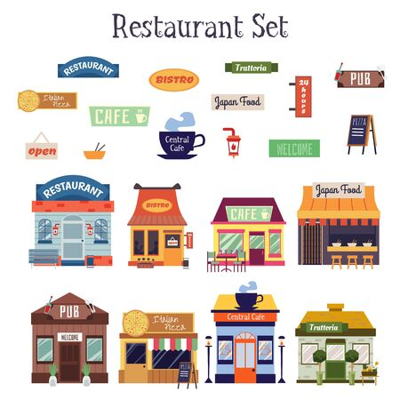 Photo pour Flat cartoon restaurant building exterior and facade sign set isolated on white background. Colorful cafe, bistro, trattoria house fronts - vector illustration. - image libre de droit