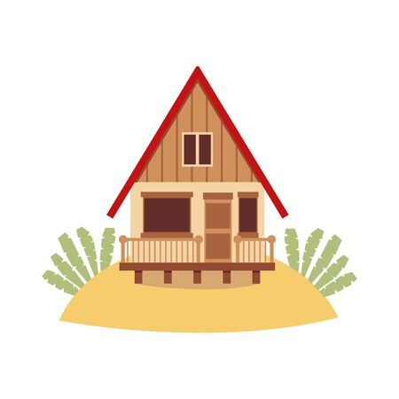 Illustration pour Tropical island beach house isolated on white background - brown wooden hut with red roof standing on sand hill. Holiday bungalow cottage - flat vector illustration. - image libre de droit