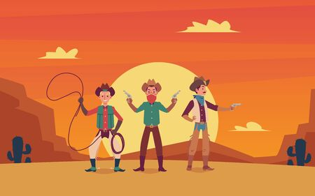 Illustration pour Three cowboys cartoon characters with weapon and lasso on wild west sunset landscape background. Vintage design in western movie style for party invitations and banners. - image libre de droit