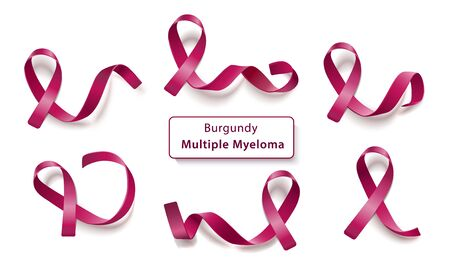 Illustration pour Set of burgundy curly ribbons and loops realistic style, vector illustration isolated on white background. Symbol of multiple myeloma cancer awareness month and solidarity or support sign - image libre de droit