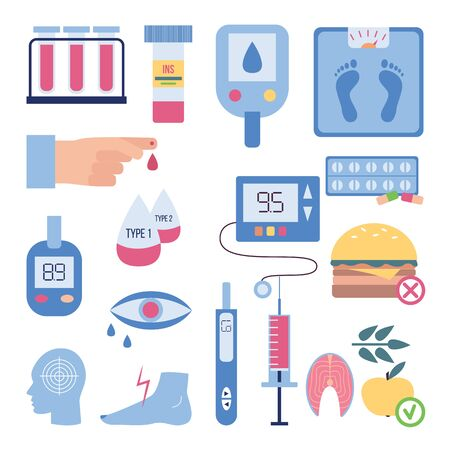 Illustration pour Diabetes symptoms and treatment - flat isolated set of blood glucose test equipment, diet requirement, insulin pill bottle and syringe. Vector illustration. - image libre de droit