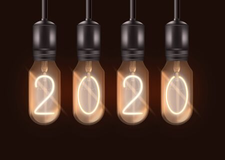 Ilustración de Number 2020 on electric light bulbs hanging from ceiling - realistic lit black lamps with glowing digits inside. New Year celebration symbol - isolated vector illustration - Imagen libre de derechos