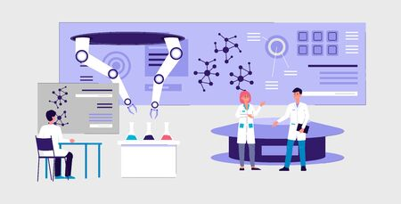 Illustration for Futuristic laboratory interior banner - cartoon scientist people doing science experiment using robotic hand technology and modern equipment, vector illustration. - Royalty Free Image