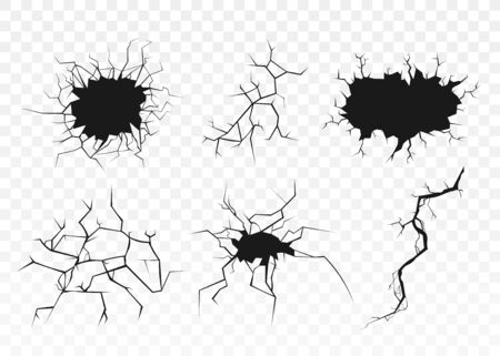 Illustration for Black surface crack set with holes and broken ground texture isolated on transparent background. Cracked wall destruction effect - flat vector illustration - Royalty Free Image