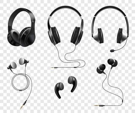 Illustration pour Set of realistic wireless and corded headphones and earphones 3d vector illustration isolated on transparent background. Music and sound gadgets or dj equipment. - image libre de droit