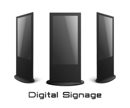 Illustration pour Digital signage - black interactive kiosk mockup set with blank screens isolated on white background. Modern advertising display collection from front and side view, vector illustration - image libre de droit