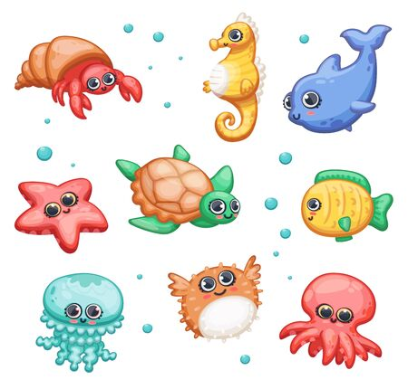 Illustration pour Fun underwater sea or ocean animals - fishes, tortoise and octopus set of flat cartoon vector illustration isolated on white background. For prints on marine topic. - image libre de droit